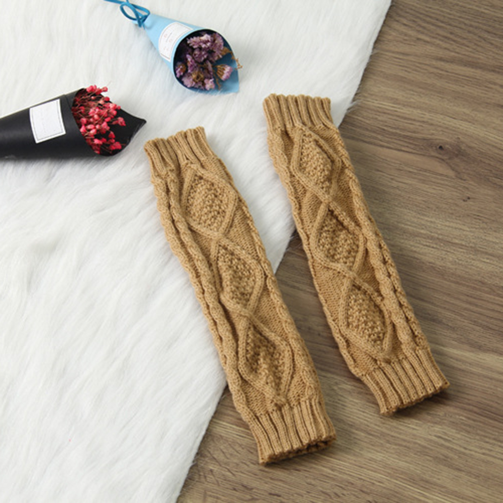 NEW 1 Pair Women Autumn Winter Knit Gloves Arm Wrist Sleeve Warmer Girls Rhombus Long Half Winter Mittens
