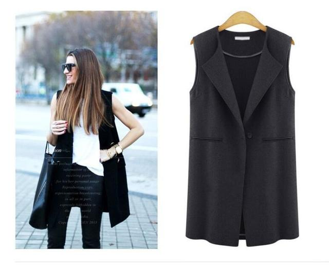Female Vest Sleeveless Coats Single Button Brief Women's Vests  Female Spring Waistcoat Turn-Down Collar Casual Vest  2