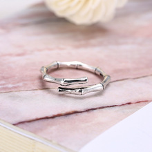 925 Sterling Silver Bamboo Shape Rings for Women Adjustable Free Size Wedding Ring Fashion sterling-silver-jewelry