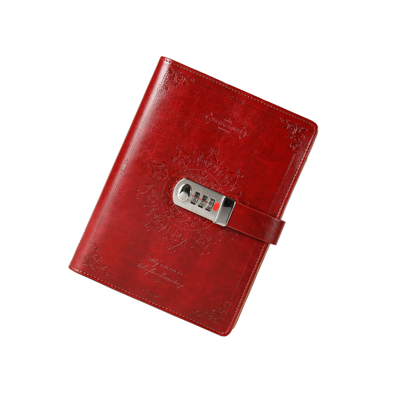 New leather notebook with lock code personal diary business thick