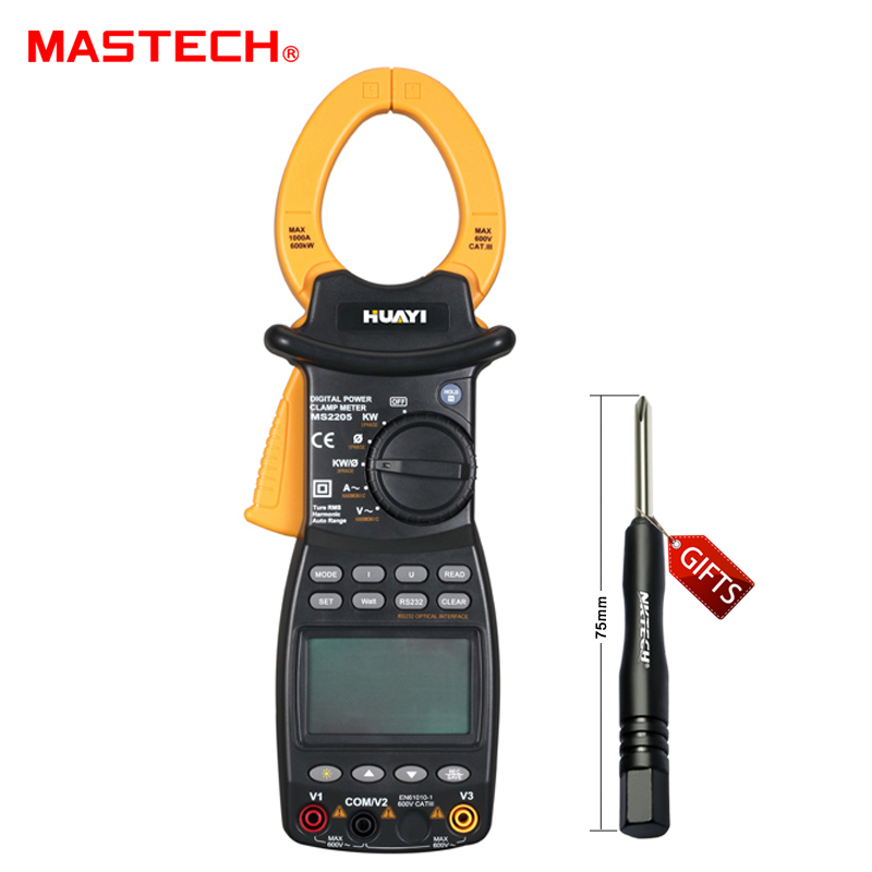 MASTECH Digital Power Clamp Meter MS2205 3 Phase Harmonic Tester RS232 Interface