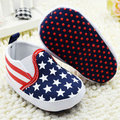 Toddler Star Print Crib Shoes Kids Boys US Flag Baby Shoes Soft Stripe Pre Walker Shoes