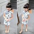 Algodón Vestido de La Muchacha de Moda Niños Niñas Bebés Chino Cheongsam Qipao de Manga Corta Primavera Otoño Muchachas de la Ropa Caliente 2016 Nuevo