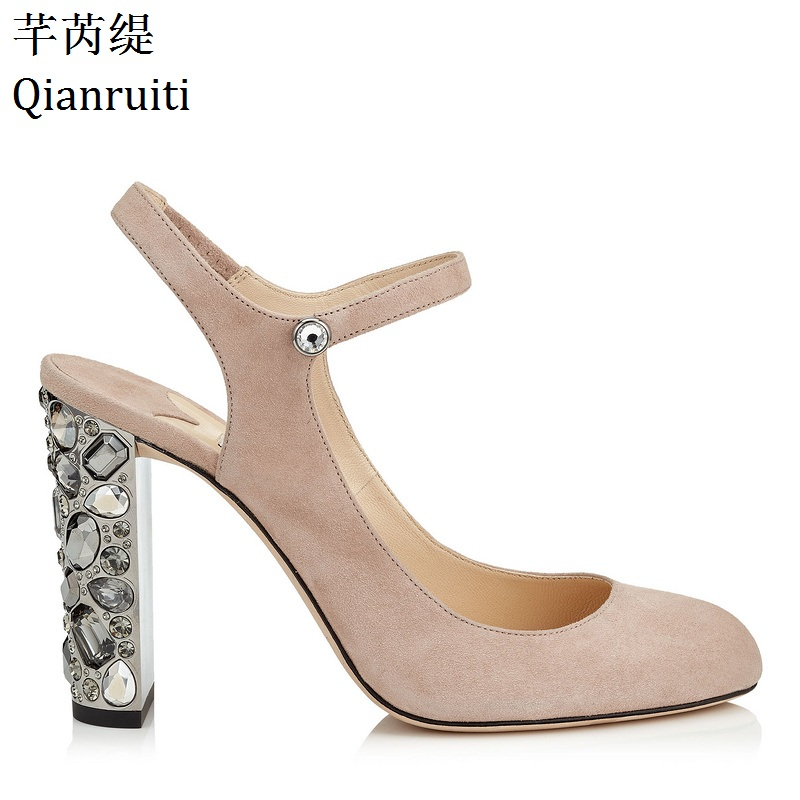 Qianruiti Nude Black Faux Suede High Heels Sandals Studded Crystal Block Heels  Women Shoes Ankle Strap e5a4344815df