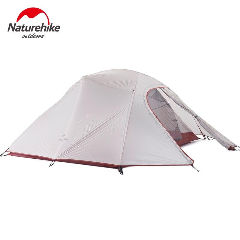 Naturehike Outdoor Zelt 3 Person 210 T/20D Silikon Stoff Doppel-schicht Camping Zelt Ultraleicht Familie Zelt Aluminium pol