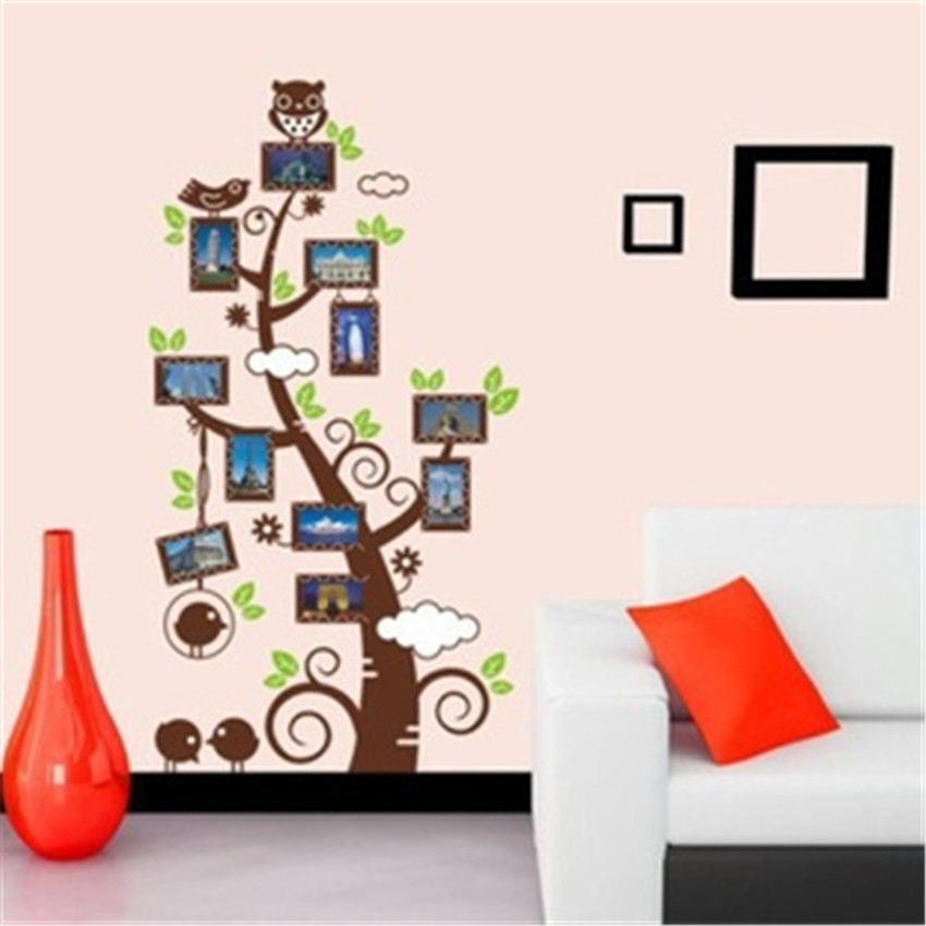 Photo Frame Tree Pegatinas De Pared Vinyl Owl Wall Decals