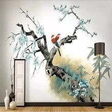 Custom wallpaper hand-painted plum new Chinese style elegant painting decorative waterproof material