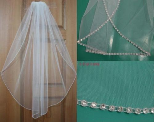 New 1T White/Ivory Elbow Beaded Edge Wedding Bridal Short Veil With Comb EE306