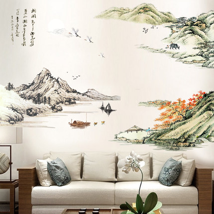 >Chinese Style Large Scenery Wall Sticker Vintage Home Decor <font><b>Office</b></font> <font><b>Study</b></font> <font><b>Living</b></font> Room Wallstickers Wall Decals Vintage Poster Art