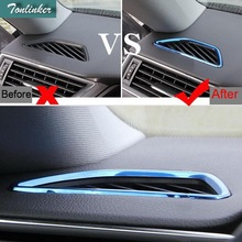 Tonlinker 2 Pcs DIY Car Styling stainless steel Dashboard air conditioning outlet Cover Case Stickers For SKODA SUPERB 2016 17