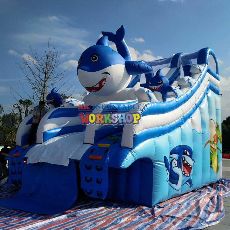 Inflatable Bouncer Shark Slide Bounce House Jumper Kids Playing Park Center