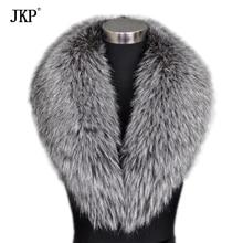 JKP настоящий воротник из натурального меха серебристой лисы с пальто натуральный Лисий мех шарф большой меховой воротник на заказ шаль
