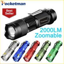 Мощный светодиодный фонарик q5 2000lm мини лампа de poche led