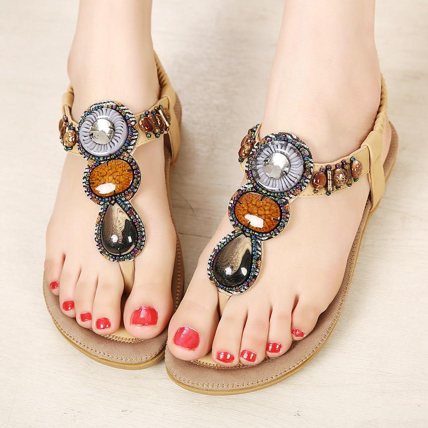SIKETU Bohemian Rhinestones String Beaded Women Summer Sandals New Fashion Large Size Lady Shoes Beach Cool Wearing Shoes Women