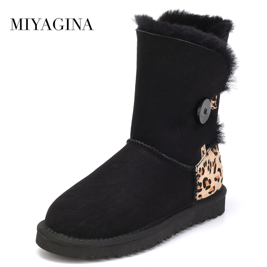 Top quality Genuine Sheepskin Leather Snow Boots Natural Fur New Fashion Botas Mujer Winter Waterproof Wool Shoes For Women