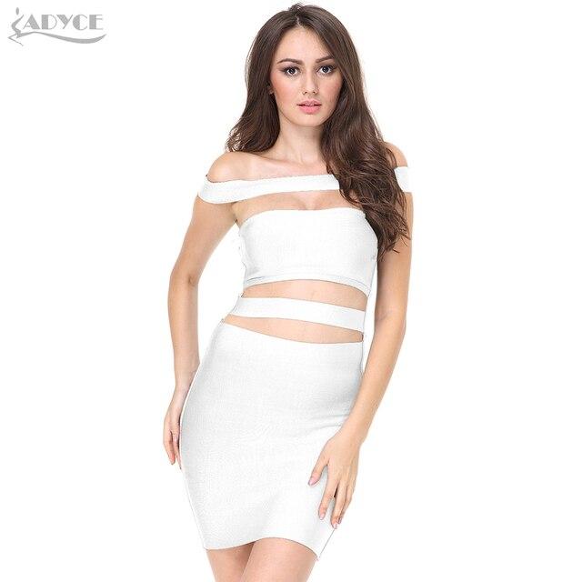 76580edf11d587 ADYCE 2019 Frauen Runway Bandage Kleid Weiße Farbe Aus Schulter Aushöhlen  Cut Out Club Kleid Sexy