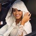 Alta Qualidade Tampão Nupcial Do Vestido de Casamento Lace Jacket Longo Bordado Robe De Cetim Warp Xale Vestido de Casamento Hijab Islâmico Frete Grátis
