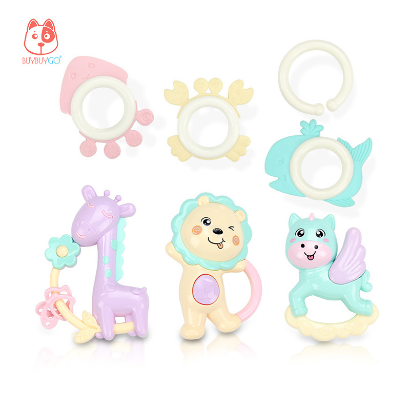 BUYBUYGO Baby Rattle & Teether Pegasus Toy 6pcs Early Childhood Education Grasp Rattle 3 Months+ Baby Educational Toys BPA Free