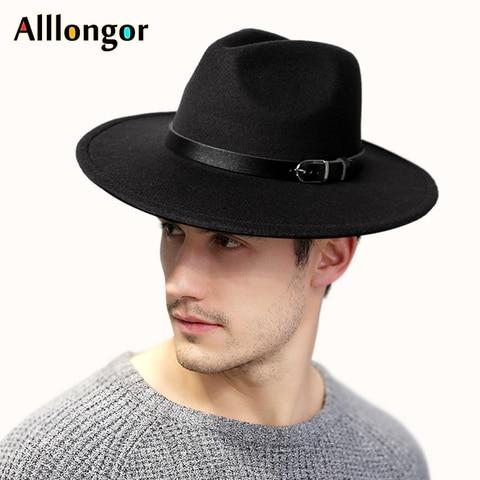 2019 Winter Autumn Black Men Wool Fedora Hat Wide Brim Women Imitation Woolen Ladies Fedoras Jazz Hat Belt Caps Bowler Felt Hats Karachi