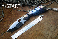 Y START Knives SMF Folding Knife Satin D2 Blade Ball Bearing Washer TC4 Flame Texture Handle