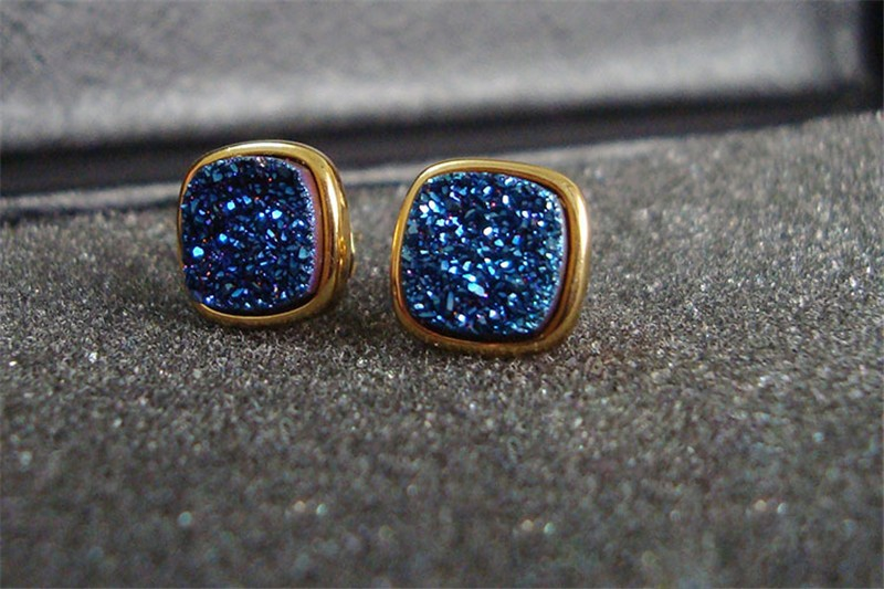 Brazil Hot Design Female Druzy Bijoux Gold Plated Round Blue Quart Natural Agate Druzy Earrings Fashion Stud Earrings for Women-7