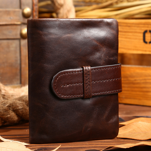 NEWEEKEND LS1034 Vintage Genuine Leather Small Oil Hasp Short Zipper Coin Card Cash Pocket Wallet Purse for Man