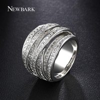 NEWBARK New Sale White Gold Plated Silver Color Rings For Women Multilayer Cross CZ Diamond Biker
