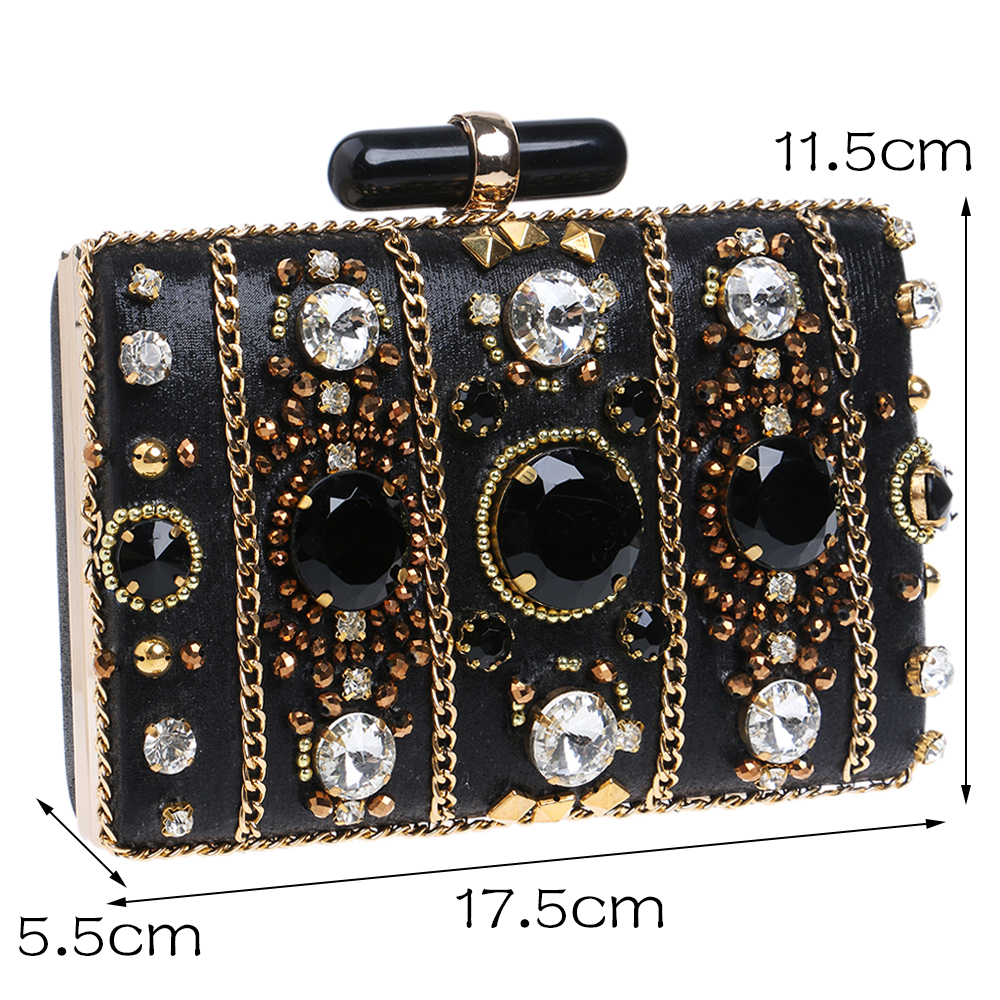 Image 3 - SEKUSA Embroidery Women Handbags Beaded Chain Accessory Metal Day Clutches Party Wedding Evening Bags One Side Diamonds Pursediamond purseevening bagsday clutches -