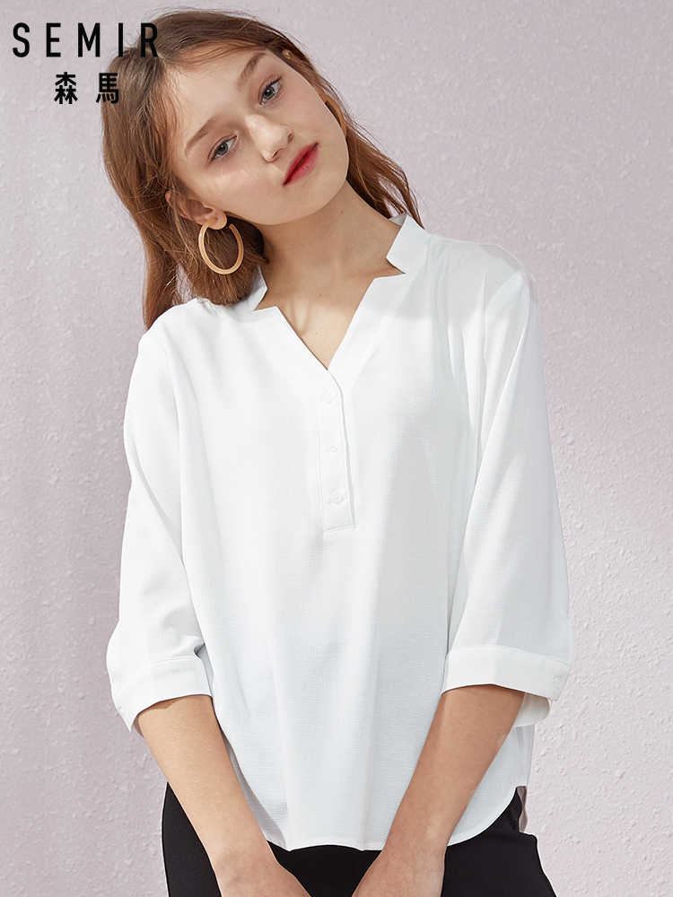 SEMIR Shirt women solid color V-neck 2019 summer chic bottoming blouse girls chiffon thin heart machine tops