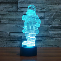 2016 Foreign Trade Santa 3D Light Colorful Touch LED Visual Light Gift Celebration Atmosphere Table 3196