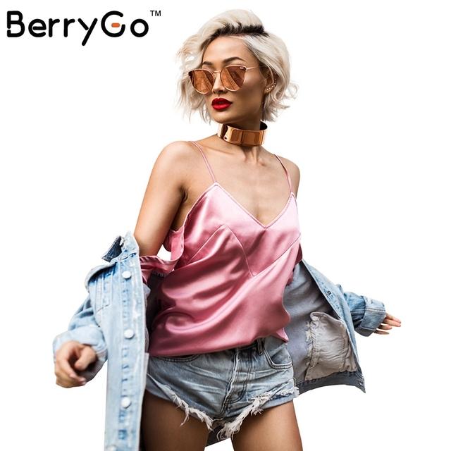 BerryGo Sexy v cuello mujeres tops camisola de satén manga Cut out backless camis tank tops Otoño Invierno streetwear