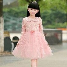 Корейский детская Одежда Осень Принцесса Девушки Одеваются Горячие Детская Одежда Розовый Сетки Цветы Полые