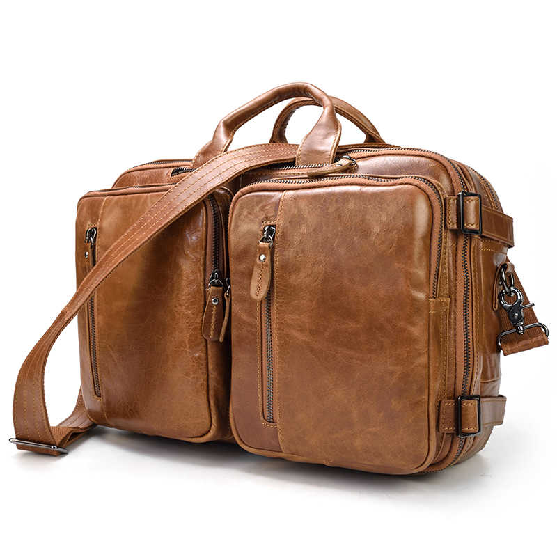 Luufan erkek deri çantalar omuz çantaları Sırt Çantası 3 1 Çok Fonksiyonlu Çantası Laptop Notebook Için 14 Inç 100% Inek Deri Kahverengi