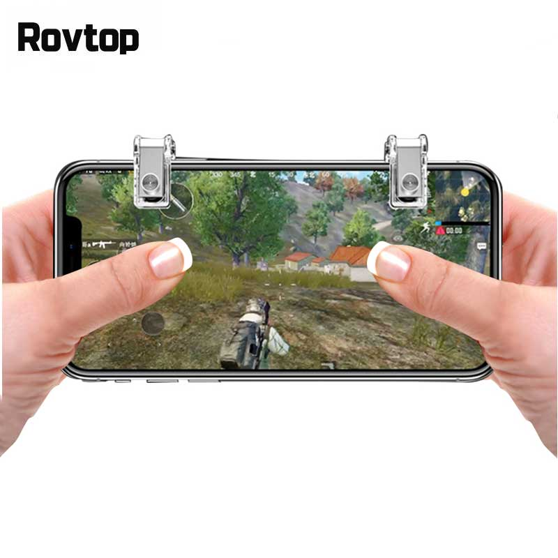Rovtop Metal Gamepad Trigger Smart Phone for PUBG Mobile Game Fire Button Aim Key L1R1 Shooter Controller for Android ios