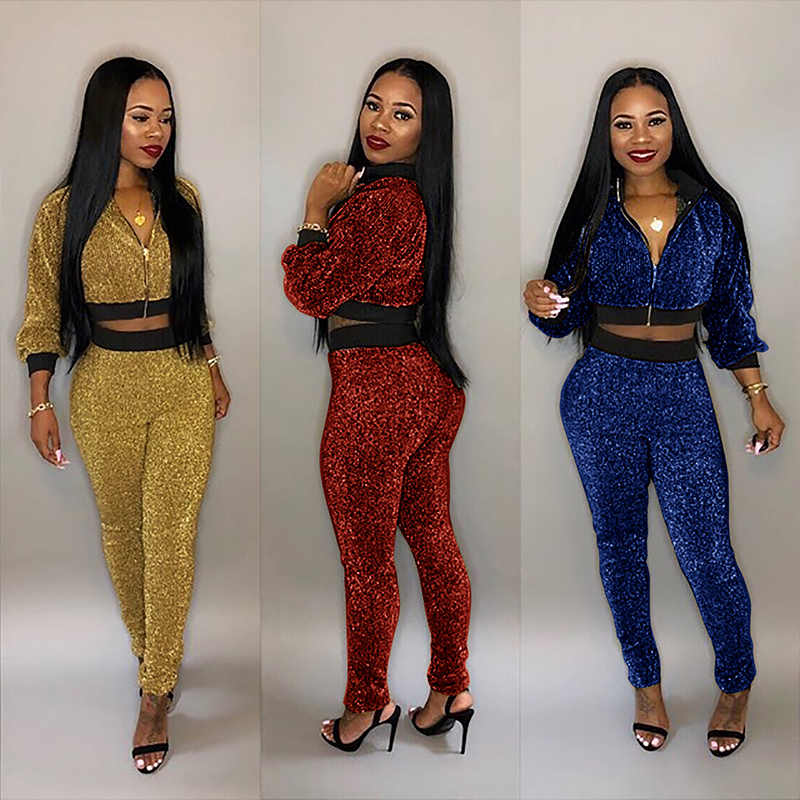 40904e95631 TWO PIECE SET Crop Top Metallic Silk Women Tracksuit Jacket Long Sleeve  Pants Club Outfits Plus