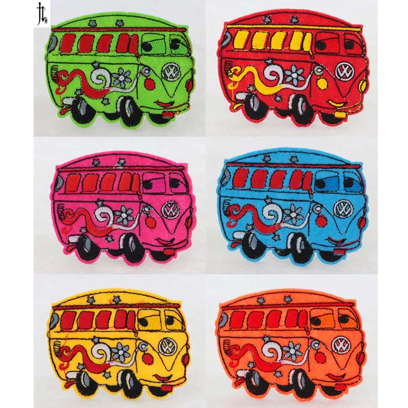 6PCS NEW 60*75 mm school <font><b>bus</b></font> Iron On Sewing Embroidered <font><b>Patches</b></font> For Clothes Cartoon Badge Garment Motif Appliques DIY Accessory image