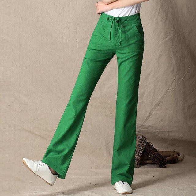 e951e6c4e 2019 primavera y verano de las mujeres Pantalones de lino pantalones  casuales pantalones de Mujer Pantalones