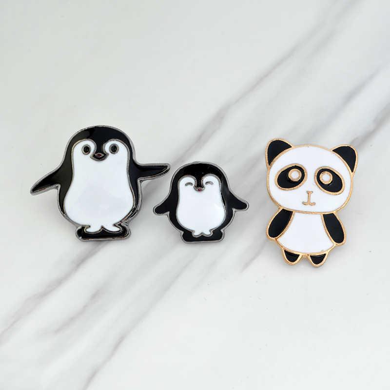 Мультфильм животных Брошь набор эмаль черно-белая панда Пингвин мама малыш булавки для костюм рубашка куртка сумка Творческий семья значок