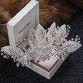 Новое Поступление ручной работы pearl листьев женщины Барретт Мода серебряный Rhinestone заколки головной убор для Невесты Свадебные Аксессуары Для Волос