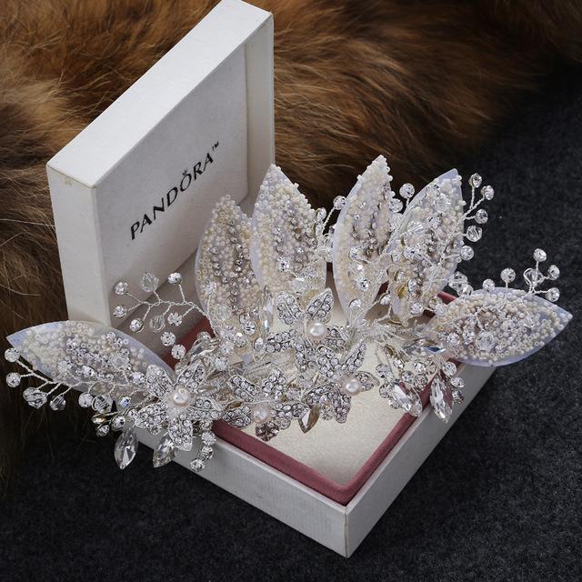 Nova pérola handmade Chegada mulheres folha Barrette Moda prata Rhinestone grampos de cabelo cocar de Noiva Acessórios Do Cabelo Do Casamento