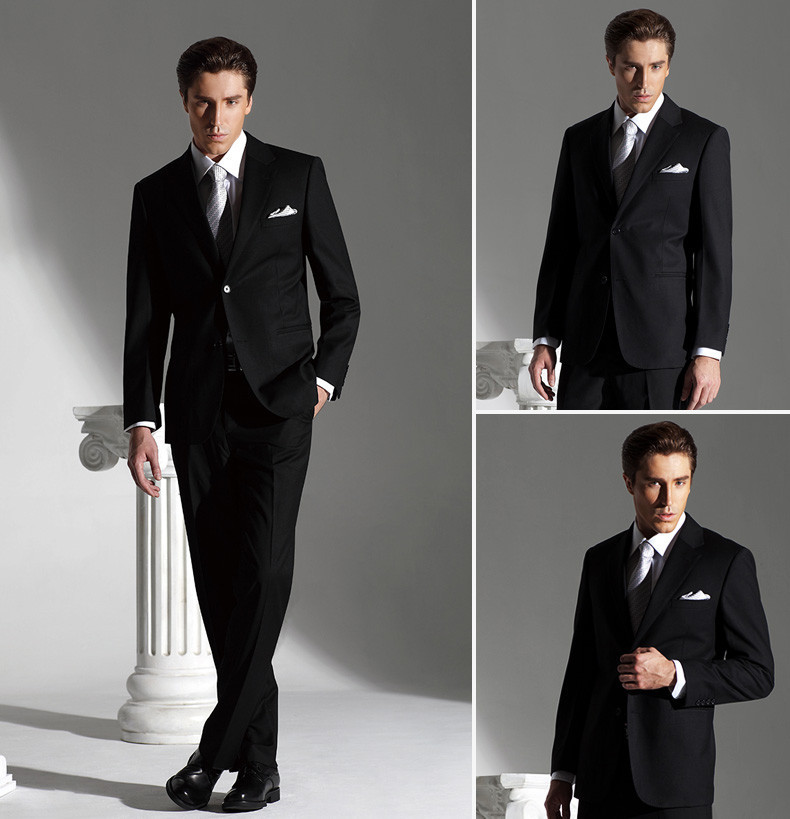 2018 Men Fashion Formal Suit 100% Wool Dress Tuxedo Brand Business Suit (Coat+Pants+Vest+Tie+Shirt) ZBY325 Long