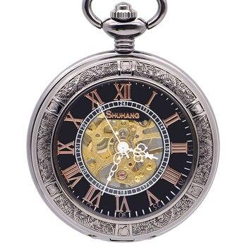Men Steampunk Skeleton Mechanical Pocket Watch Men Vintage White Analog Fob Watch Necklace Pendent Roman Numerals Pendants Gift