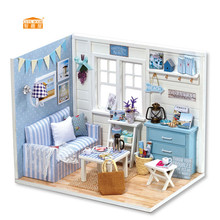 CUTE ROOM New arrival Miniature Wooden Doll House With DIY Furniture Fidget Toys For Kids Children Birthday Gift Sunshine H016