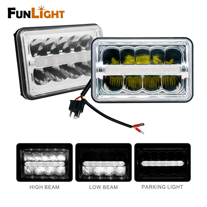 2psc 4x6 Inch Square LED Headlight High/Low Beam with DRL for Truck Daymaker Ford,Chevy Camaro Iroc-z,Truck