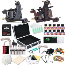 New Complete Tattoo Machine Kit Set Coils Guns Colors Pigment Sets Power Tattoo Beginner Grips Kits Permanent Makeup