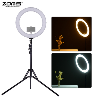 "ZOMEI 2700-5500K 448pcs 18"" Bi-color Dimmable LED Ring Video Light Fill Light CRI 90+ for Photography Live Show Video Shooting"