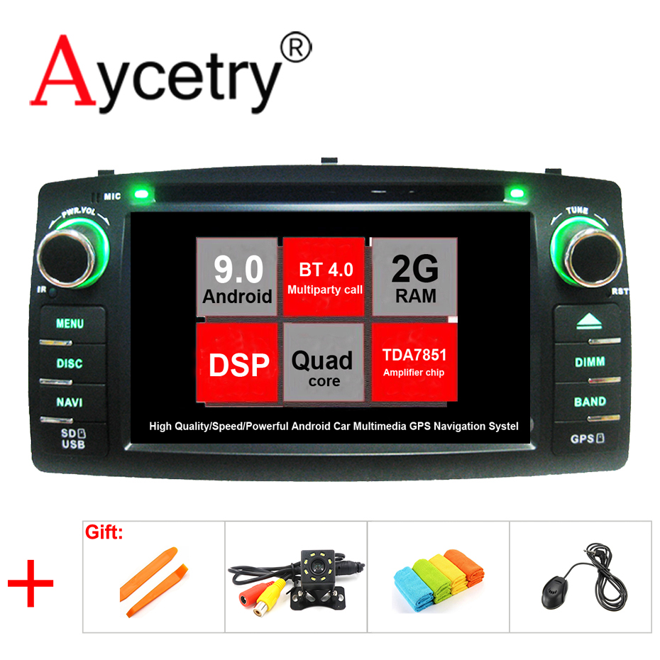 DSP 2 din Android 9 0 Car multimedia DVD player GPS Navigation Head unit for TOYOTA