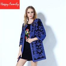 European Fashion Winter Coats 2017 New Hot Embroidered Cashmere Retro Blue Flower Nine Point Sleeve Slim Coat Plus Size XXXL