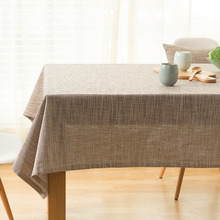 Simanfei 80%Linen And 20%Cotton Rectangles Squares Coffee Color  Blue Light gray Light Blue Japanese Garden Plain Tablecloth leader kids sorrento gray light blue