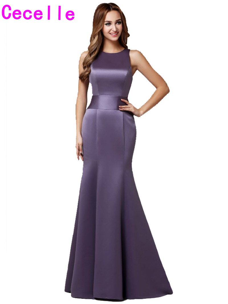 2019 Real Long Lilac Mermaid   Bridesmaid     Dresses   Sleeveless Vintage Formal Winter Outdoor Wedding Party Gowns Cheap Custom Made